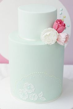 Pale Green Wedding Cake with Delicate White Detail & Pink Ombré Flowers