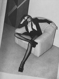 """Kiki Willems by Hedi Slimane for the spring 2015 Saint Laurent campaign. Banned by the Advertising Standards Authority (ASA) in the UK for featuring an """"unhealthily thin"""" model. Ysl, Tom Ford, Yves Saint Laurent, Hedi Slimane, Rocker Style, Lingerie, Glam Rock, Rock Chic, School Fashion"""