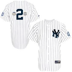 Derek Jeter New York Yankees Majestic Replica Pinstripe Jersey with Stadium Inaugural Patch - White - $144.99