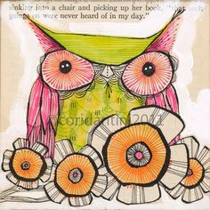 green and pink owl - illustration - 8 x 8 inches - limited edition and archival watercolor by cori dantini
