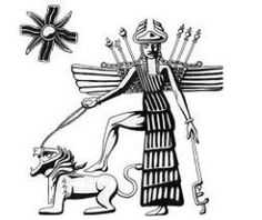 Inanna-Ishtar, winged, with foot on her roaring lion and star symbol, being worshipped by a lesser goddess. Ancient Aliens, Ancient Art, Ancient History, Star Of Ishtar, Ishtar Goddess, Akkadian Empire, Cradle Of Civilization, Ancient Near East, Ancient Mesopotamia