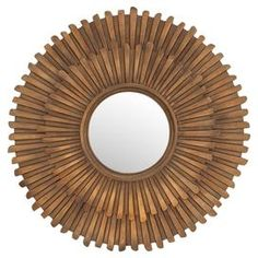 """Bring an eye-catching pop of style to any room with this bold wall mirror, featuring a 2-tier sunburst-inspired frame and brass finish.  Product: Wall mirrorConstruction Material: Iron and engineered woodColor: Brass frameFeatures: Two-tier sunburst-inspired frameDimensions: 45"""" Diameter x 3.5"""" D"""