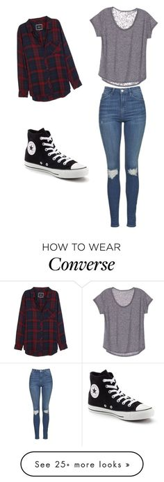 By elisemmathews on Polyvore featuring Rails, Topshop and Converse