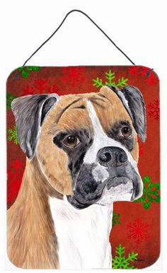 Boxer Red and Green Snowflakes Holiday Christmas Wall or Door Hanging Prints