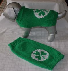 Hand Knitted Irish Shamrock Dog Jumper Dog by IrishSmallKnits, Dog Jumpers, Acrylic Wool, St Patricks Day, Knits, Hand Knitting, Your Dog, Irish, Two By Two, Green