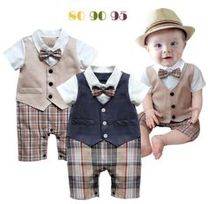 5438ea39f543 2015 New baby romper boy costume clothing for newborns clothes gentleman  plaid jumpsuit short sleeve rompers infant outfits-in Rompers from Mother    Kids on ...