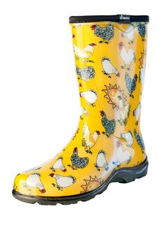 "Women's Rain & Garden Boot - Daffodil Yellow Chicken Print - Includes FREE ""Half-Sizer"" Insoles!"