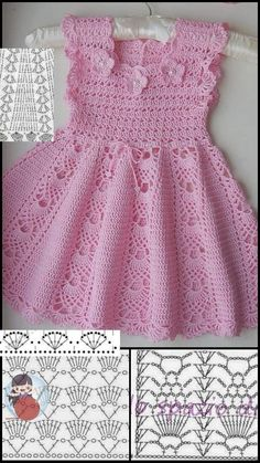 Crochet Baby Dress Pattern, Baby Dress Patterns, Crochet Baby Clothes, Baby Knitting Patterns, Crochet Patterns, Baby Ballon, Crochet Toddler, Baby Sweaters, Doll Clothes