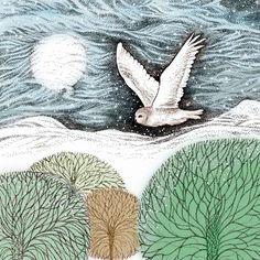 Leading Illustration & Publishing Agency based in London, New York & Marbella. Snowy Owl, Hand Illustration, Prints, Image, Greeting Cards, London, York, Christmas, Printmaking