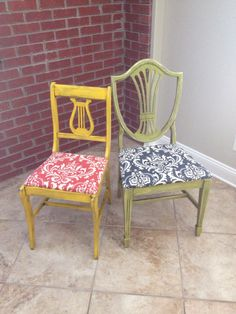 These colorful chairs are painted with Krylon spray paint, distressed and glazed.