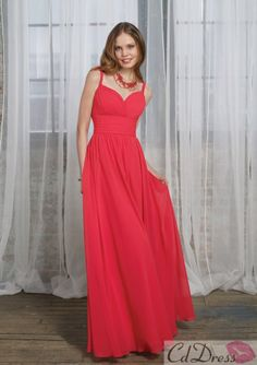 A-Line V-Neck Floor-length Chiffon Bridesmaid Dress - Bridesmaid Dresses - Wedding Party Dresses - CDdress.com