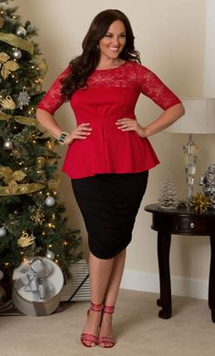 Curvy Woman Black Pencil Skirt and Red Peplum Top