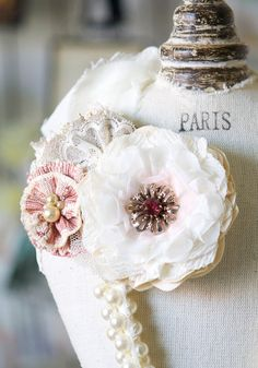 Flower Corsage Pin - Ivory, Pink and Tan Fabric and Lace Blossoms