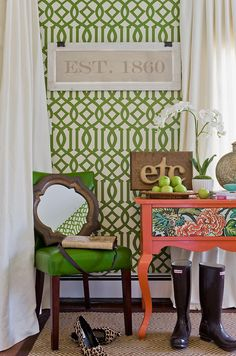 Two of my favorite textiles looking fabulous together, namely, Imperial Trellis and Chiang Mai Dragon, by Bryant Park Designs.