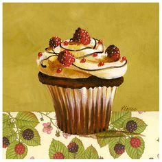 Cupcake Framboise Kunstdruck printie