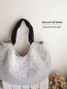 Linen & lace bag by SoundOfHome, H23cm x W37cm x D10cm.