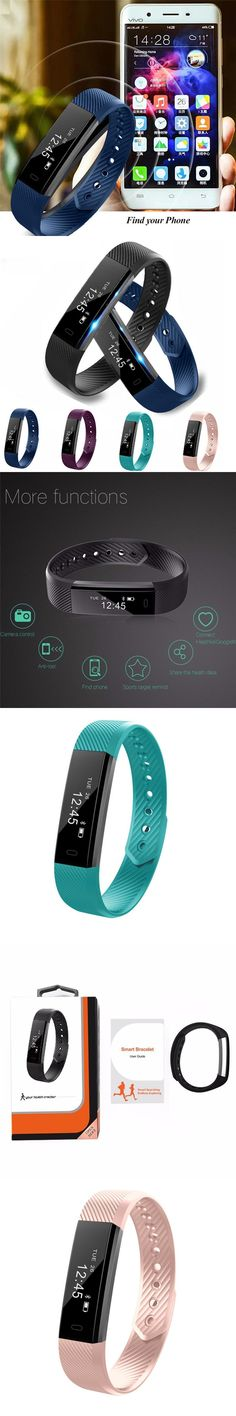 Smart Bracelet Fitness Tracker Step Counter Activity Monitor Band ID115 Alarm Clock Vibration Wristband for iPhone Android Phone