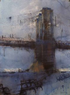 Antonio Masi - Nocturne - Brooklyn Bridge  watercolor