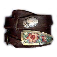 Floral Asymmetrical Leather Wrap Bracelet