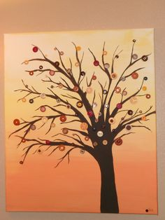 I love this! A painted tree with button leaves on canvas...I was 'pinspired' to do this project!