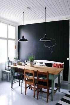table salle à manger en bois naturel + chaises dépareillées + mur peinture tableau