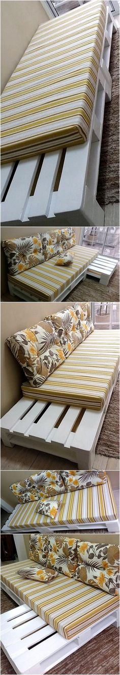 In the next in pallet ideas, you will get familiar with the breath-taking designing of this wood pallet couch plan. This pallet couch in white looks appealing to eyes and also comfortable enough to fulfill your indoor furniture needs with it. This is the most simple couch design in all pallet ideas.