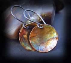Copper Patina Earrings - Flame Patina Hammered Copper Earrings on Artisan Handmade Sterling Silver Wires - ARTIST by HopeCreations on Etsy https://www.etsy.com/listing/111808320/copper-patina-earrings-flame-patina