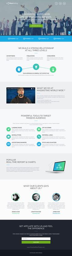 Buy Massketing - HTML Landing Page Template by demustang on ThemeForest. Massketing is a clean and modern HTML landing page template with ultimate design and layout. Fully responsive and bui. Amazing Website Designs, Website Design Inspiration, Design Ideas, Page Template, Website Template, Templates, Creative Web Design, Viral Marketing, Landing Page Design
