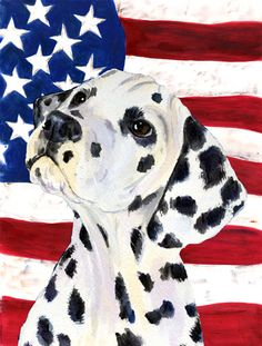 USA American Flag with Dalmatian House Vertical Flag