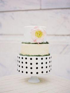 Cake idea: Gold polka dots with pink top tier?Polka-dot-wedding-cake