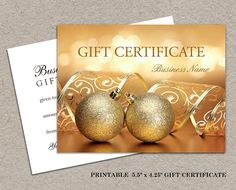 DIY Printable Holiday And Christmas Gift Certificate by iDesignStationery #GiftCard #Christmas #Etsy #GiftCertificate