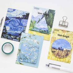 4 pcs Van Gogh memo pads and sticky notes The Starry night post it guestbook stickers Stationery Office School supplies F763 #Affiliate