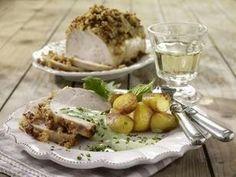 Putenbraten mit Speck-Zwiebelkruste mit Frankfurter Soße und Röstkartoffeln Rezept