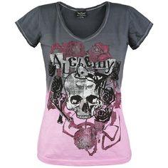 """Tämän naisten Alchemy England """"Spider Rose"""" T-paidan liukuväri harmaasta pinkkiin on jälleen osoitus Alchemyn omaperäisyydestä. Toimii!"""