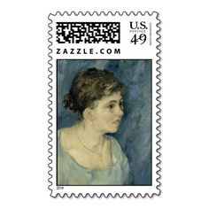 Woman in Blue by Vincent Van Gogh Stamp