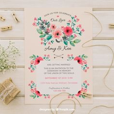 Vintage wedding invitation with watercolor flowers Free Vector Vintage Wedding Cards, Wedding Cards Handmade, Vintage Wedding Invitations, Wedding Invitation Wording, Wedding Card Design, Wedding Details, Watercolor Flower Vector, Creative Wedding Inspiration, Wedding Greetings