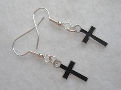 Super Cute gothic lolita back cross dangle small enamel earrings by Margyko on Etsy, $5.00 Rocker punk emo dark goth women jewelry.