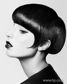 2012 black sleek short womens hairstyle hairstyle    A black bob was prepped with smoothing cr�me and blow-dried using a Denman brush to achieve a straight, smooth finish. Once dry, hair was styled with straighteners to achieve a totally straight look.