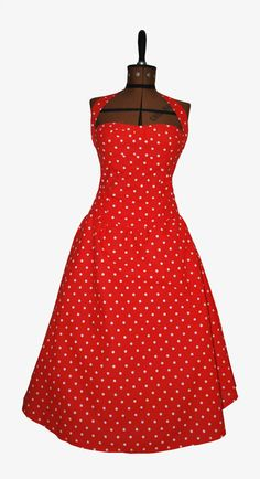 Handmade 1950's rockabilly red polka dot dress by Lifesastitchshop