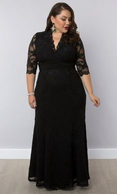 """Screen Siren Lace Gown by Kiyonna.  I have this dress.  It is stunning in person!   Comfortable and classic, and I was told I look """"perfect"""" in it!"""