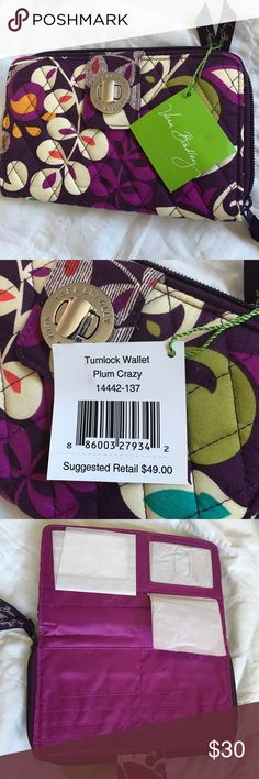 Vera Bradley Turnlock Wallet - Plum Crazy Brand New With Tags! Currently on sale on Vera Bradley for $34.30! Only $30 here 😊 Rows and rows of card slips, two expandable areas for bills, and a zippered coin pouch provide organizational bliss Two ID windows create convenience Zip-around closure adds extra security Silver-finished turn lock closure gives it high style Vera Bradley Bags Wallets