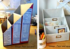 11 Genius DIY Organizing ideas for a beautiful home and a calm mind Diy Storage, Diy Organization, Organizing Ideas, Diy Box Organizer, Karten Display, Office Deco, Home Crafts, Diy And Crafts, Diy Magazine Holder