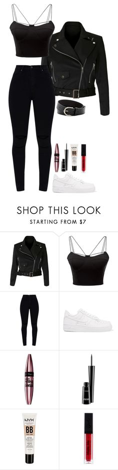 """""""Total black"""" by alexmlenek on Polyvore featuring WithChic, NIKE, Maybelline, MAC Cosmetics, NYX and Linea Pelle"""