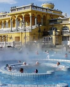 The Széchenyi Spa is the largest thermal bath of Budapest. The neo-baroque baths were built in 1913. Its thermal springs were discovered in 1879 - they are the deepest and warmest thermal wells in Budapest. It is a vast complex of indoor and outdoor pools, the premier medicinal bath of the Pest side of the city,   situated in the middle of the City Park. #Budapest #Thermal_Bath ♥