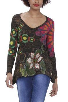 Desigual Damen Langarmshirt, 28T2410, Gr. 40 (L), Braun (Cafe 6036)