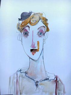 Self portrait qua Chaplin http://ift.tt/2c2PHHO Art watercolor acrylic doodle art painting artistsoftumblr watercolor