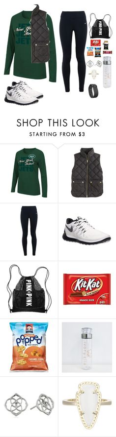 """Day At The Game"" by avazumpano ❤ liked on Polyvore featuring Majestic, J.Crew, NIKE, Victoria's Secret, Kendra Scott, Fitbit, women's clothing, women's fashion, women and female"