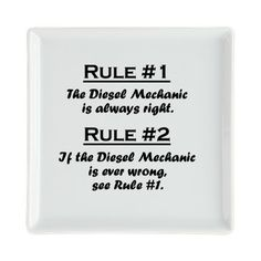 Rule Diesel Mechanic Square Cocktail Plate on CafePress.com