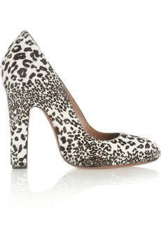 The lines of these shoes will transform your legs from average to amazing. Worth every penny and then some. Alaïa Animal-print calf hair pumps | NET-A-PORTER