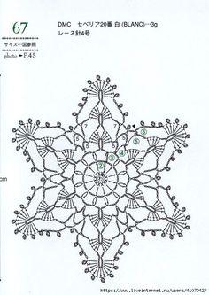 Crochet Snowflakes + Diagrams - Her Crochet Crochet Bunting, Crochet Snowflake Pattern, Crochet Stars, Crochet Snowflakes, Crochet Stitches Patterns, Doily Patterns, Thread Crochet, Crochet Diagram, Crochet Motif